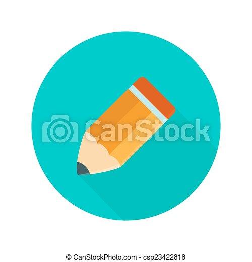 Big orange pencil circle icon over green - csp23422818