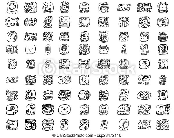 Big pack of maya glyphs - csp23472110