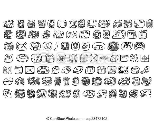 Big pack of maya glyphs - csp23472102