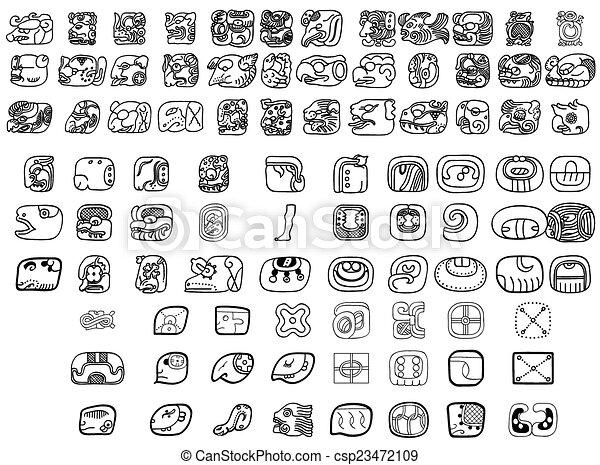 Big pack of maya glyphs - csp23472109