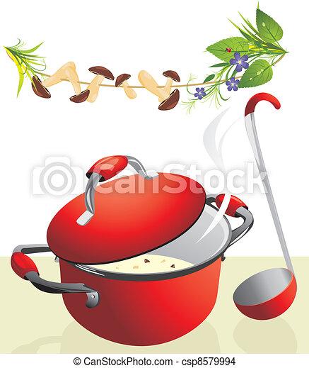 Big pan with mushroom soup - csp8579994