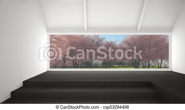 big panoramic window with spring garden with pink flowers trees empty room interior design