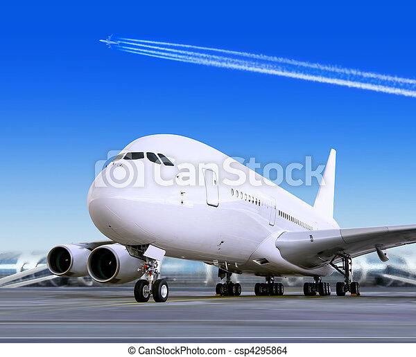 big passenger airplane in airport - csp4295864