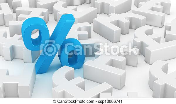 Big Percent Of Pounds Single Blue Percent Symbol Among Many Pound