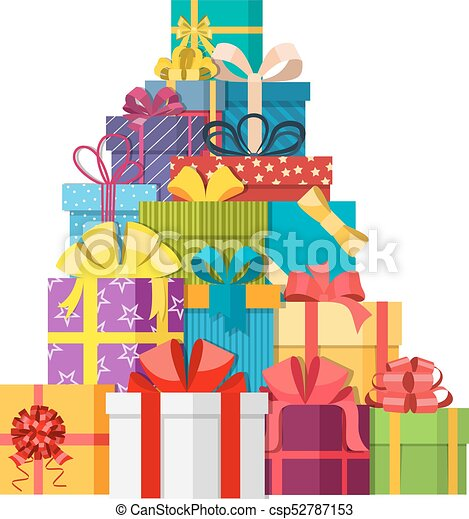 Big Pile Of Colorful Wrapped Gift Boxes Mountain Gifts Gift Box