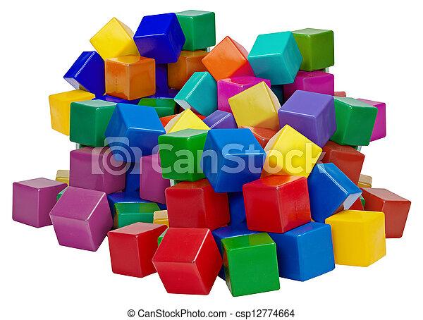 Big pile of plastic blocks isolated on white - csp12774664
