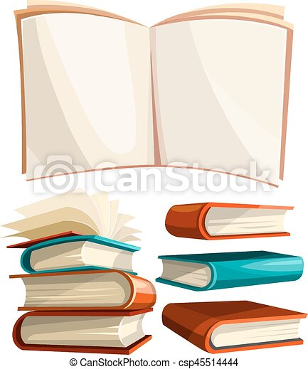 Big piles set of books with open pages spread - csp45514444