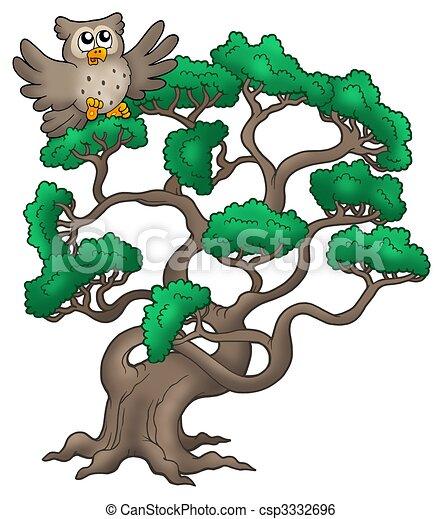 Big pine tree with cartoon owl - csp3332696