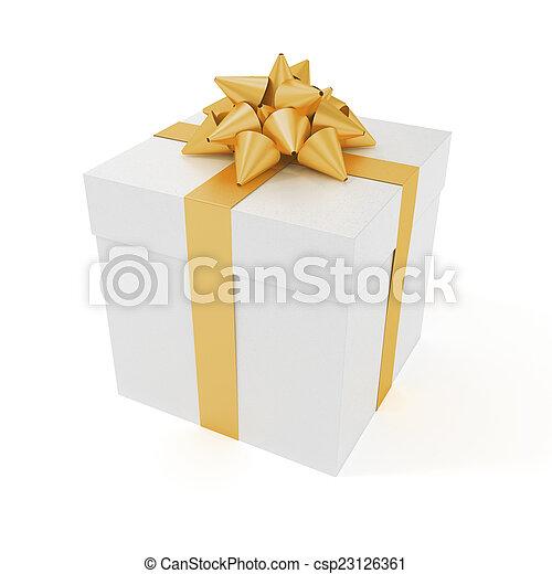 big present box big present with ribbon isolated