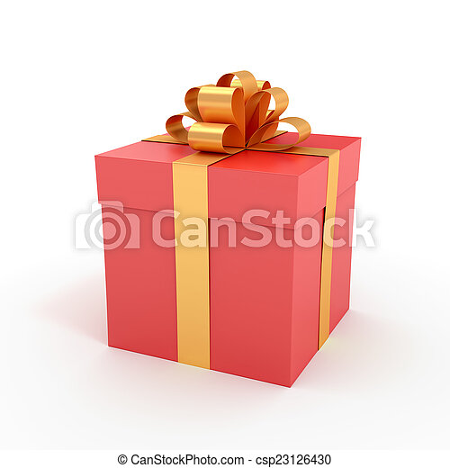 big present box packed gift box with ribbon 3d rendered image