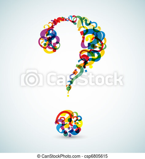 Big question mark made from smaller question marks - csp6805615