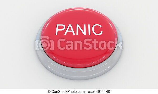 Big red button with panic inscription. Conceptual 3D rendering - csp44911140