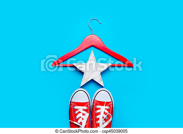 big red gumshoes, hanger and beautiful star shaped toy on the wonderful blue background - csp45039005