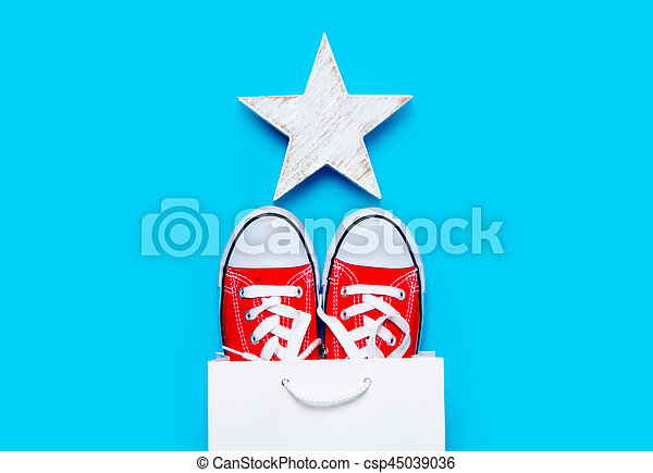big red gumshoes in cool shopping bag and beautiful star shaped toy on the wonderful blue background - csp45039036