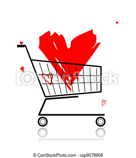 Big red heart in shopping cart for your design - csp9078908