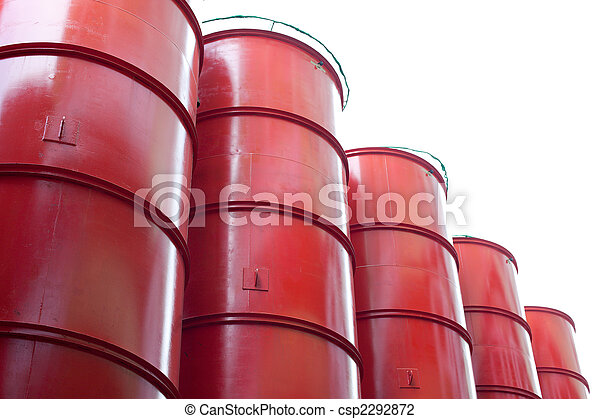 Big red industrial containers against bleak white sky - csp2292872