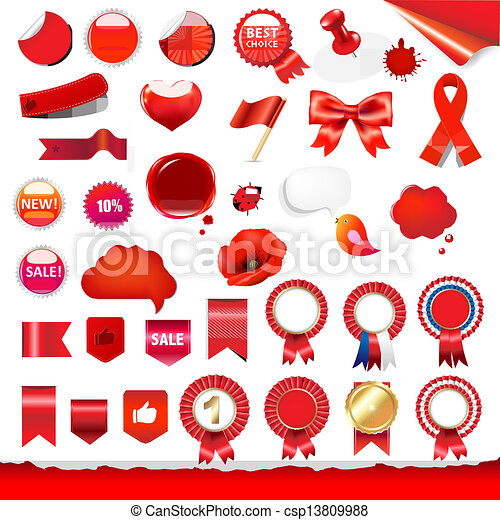 Big Red Labels And Ribbons Set - csp13809988