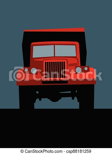 big red truck on the road, front view. - csp88181259