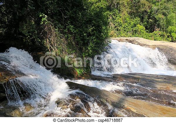 big river ending in a nice Waterfall - csp46718887