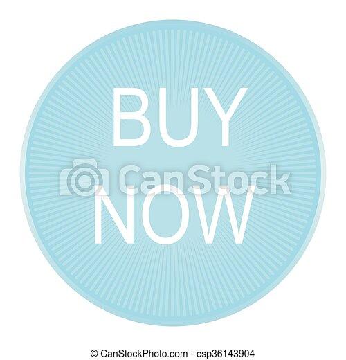 Big round blue buy now button - csp36143904