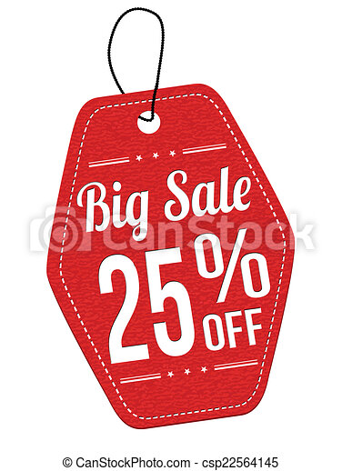 Big sale 25% off red leather label or price tag - csp22564145