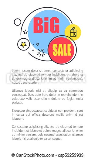 Big Sale Advertisement Poster with Shiny Bubbles - csp53253933