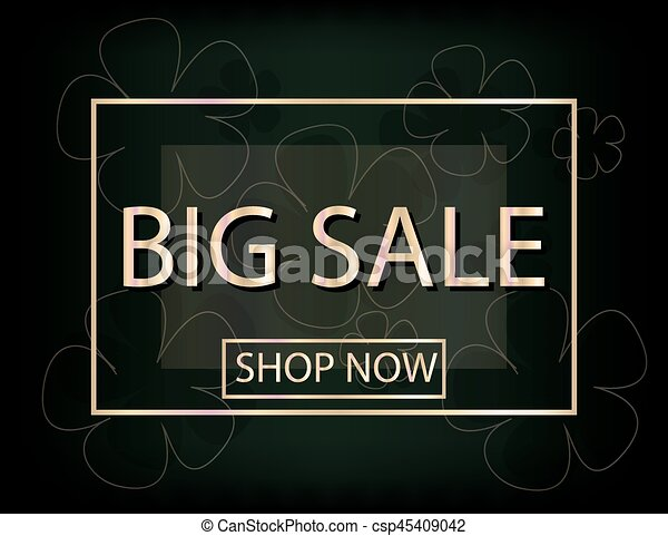 Big Sale Background with flowers silhouette for your design. - csp45409042