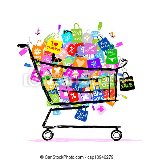 Big sale concept with shopping bags into basket for your design - csp10946279