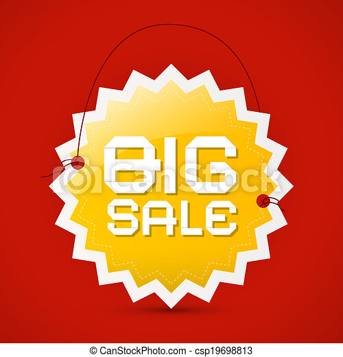 Big sale icon - orange label on red background, vector  - csp19698813