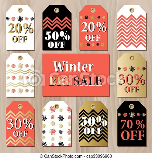 Big sale printable card template with golden red snowflakes design.  - csp33096960