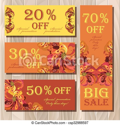 Big sale printable card template with peacock feathers design.  - csp32988597