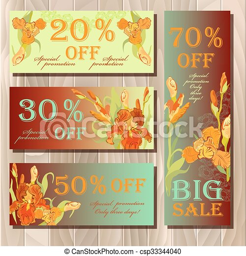 Big sale printable card template with red iris flower design.  - csp33344040