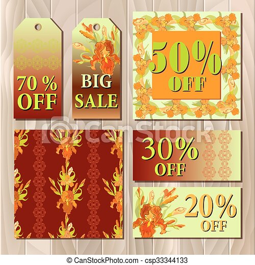 Big sale printable card template with red iris flower design.  - csp33344133