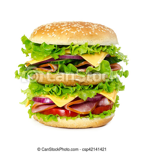 Big sandwich with ham, tomato, cheese, onion and lettuce - csp42141421
