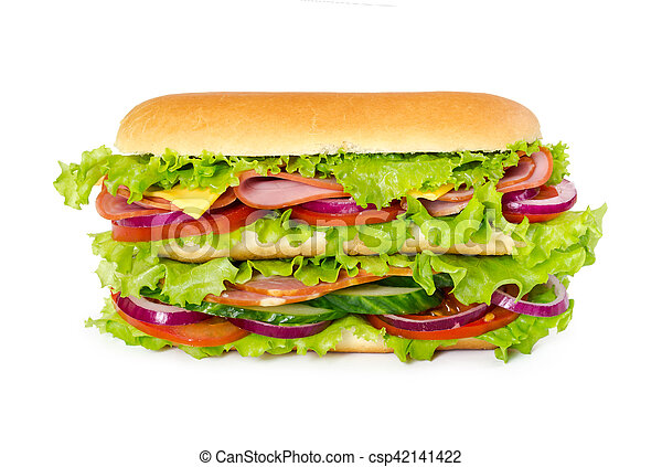 Big sandwich with ham, tomatoes, cucumbers, cheese, onion and salad leaves - csp42141422