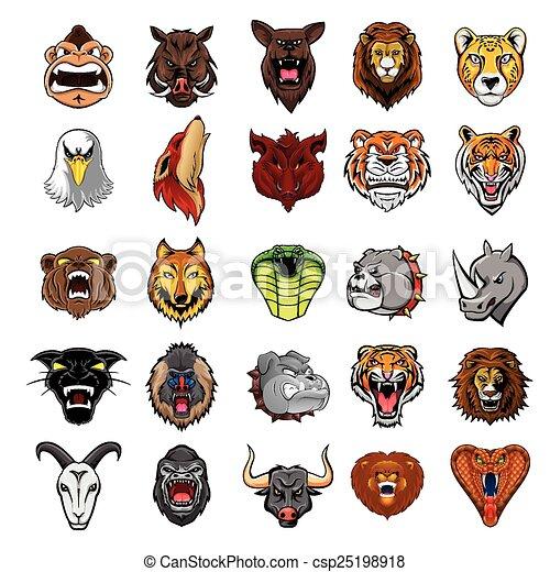 Big Set Animal Head Collection  - csp25198918