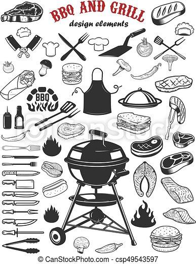 Big set of BBQ and Grill design elements. Kitchen tableware, grilled meat, salmon meat, burger, sandwich, pepper, mushrooms, tomatoes. Elements for logo, label, emblem, sign poster, restaurant flyer. Vector illustration - csp49543597