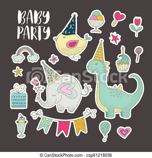 Big set of birthday party vector clip arts. Cute hand drawn animals and cartoon elements. - csp61218036
