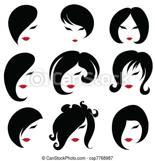 Big set of black hair styling - csp7768987