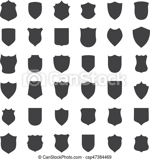 Big set of black shields on a white background - csp47384469