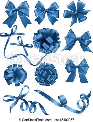 Big set of blue gift bows with ribbons. Vector illustration. - csp15400987