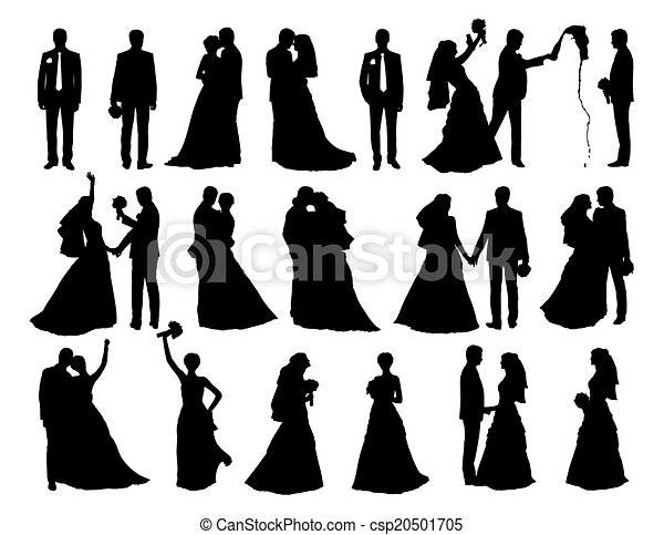 Big Set Of Bride And Groom Silhouettes