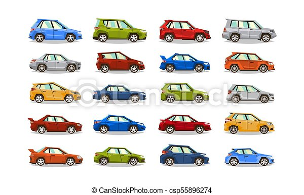Big set of cars. Collection vehicle. Sedan, hatchback, roadster, SUV. The image of toy machines. Isolated objects on a white background. Vector illustration. Flat style - csp55896274