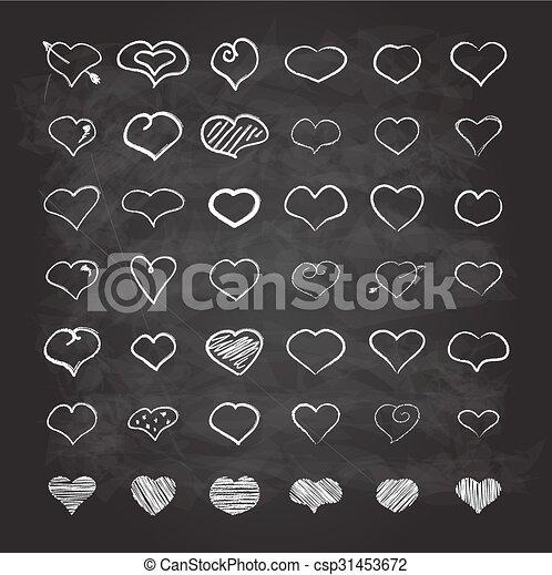 Big set of chalk hearts - csp31453672
