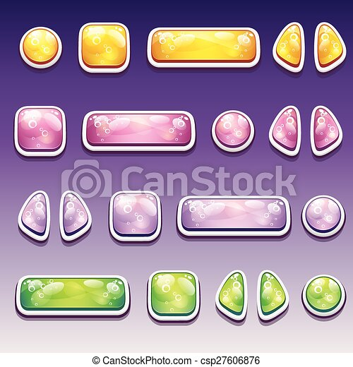 Big set of colorful cartoon buttons - different shapes for the user interface and web design - csp27606876
