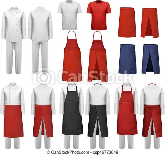Big set of culinary clothing, white and red suits and aprons. Vector. - csp46773649