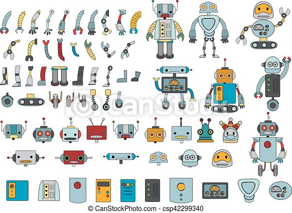 Big set of different robot parts in color