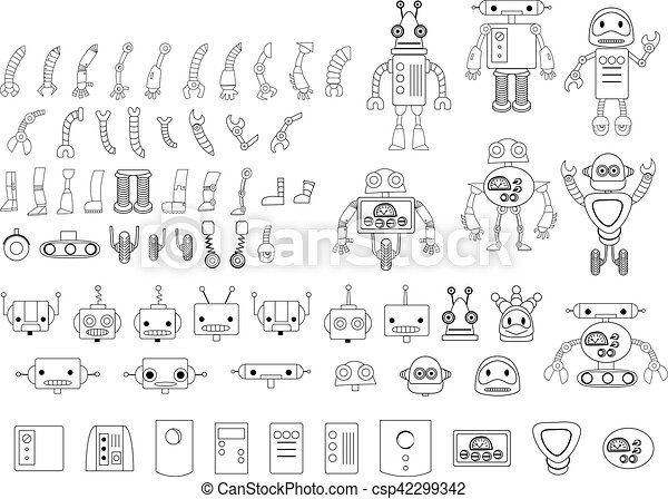 Big set of different robot parts in black and white