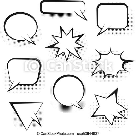 Big set of empty retro speech bubbles - csp53644837