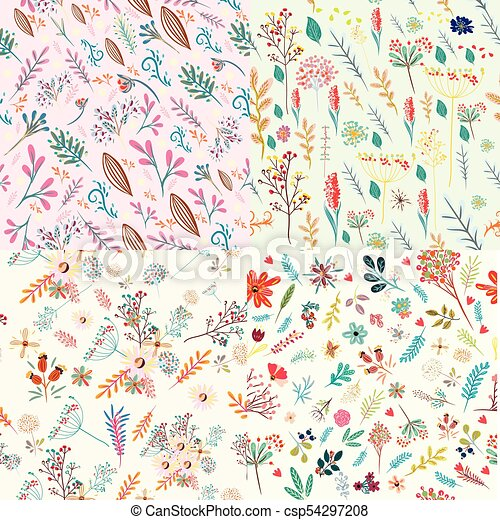 Big Set Of Floral Cute Patterns With Colorful Rustic Pastel Flowerseps